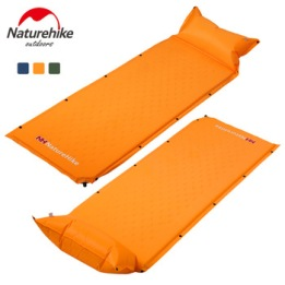 Portable bed pillow,NatureHike Sleeping Mattress Self-Inflating Pad Portable Bed with Pillow Camping Mat Single Person Foldable NH15Q002-D