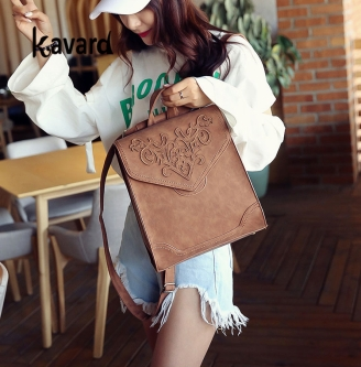 trendy handbag,Fashion Women Leather Backpack Female Floral Bag Ladies Softback Character Embossing Backpacks Mochilas Mujer School Style Bag