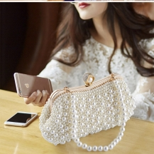 Women Messenger Beaded Women Evening Bags Imitation Pearl Shell Women Bag Shoulder Bags Diamonds Clutch Bag for Wedding Party