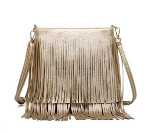 Glossy Fringe Cross Body Shoulder Bag Tassel Womens Purse
