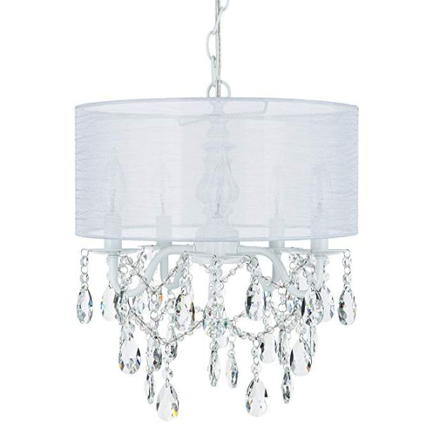 Luna White 5 Light Crystal Chandelier with Drum Shade, Glass Beaded Swag Plug-In Pendant Wrought Iron Cylinder Shaded Ceiling Lighting Fixture Lamp