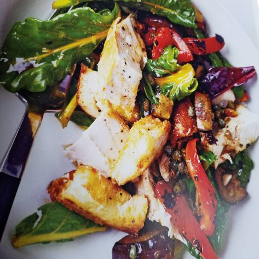 Roast Chicken with Broiled Vegetable and Bread Salad